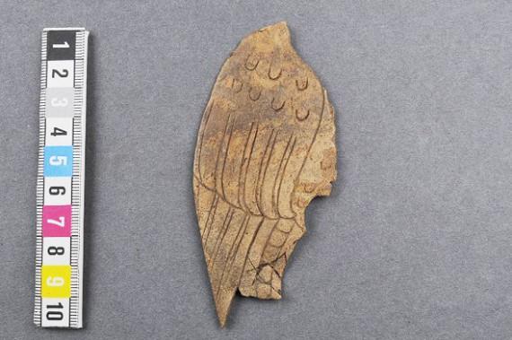 Ornerad vinge i ben från kv bryggaren i Söderköping. SHM 34183, fnr 1564.