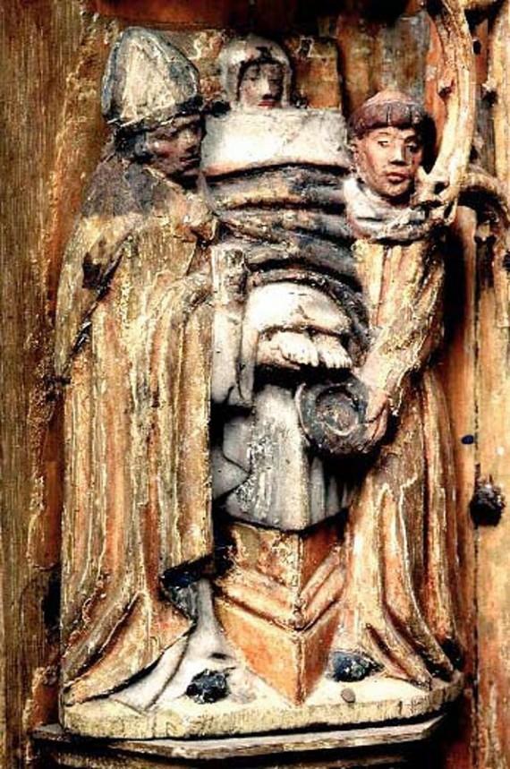 Sista smörjelsen, scen ur altarskåpet från jonsberg SHM 10126. Foto Lennart Karlsson.