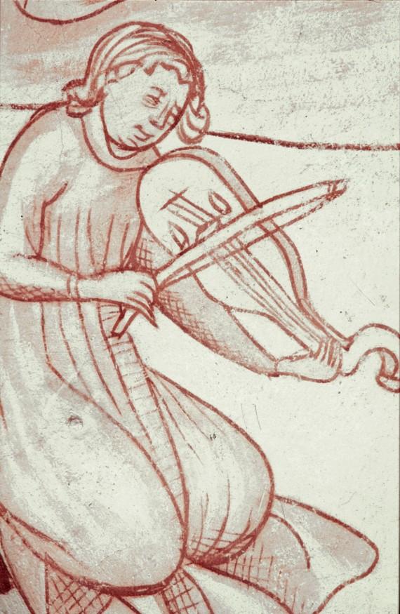 Fig. 3. Musicerande ängel, 1400-talets andra fjärdedel, kalkmålning från Brönnestad kyrka, Skåne. Foto: Lennart Karlsson.